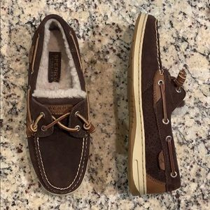 Sperry Fur Lined Suede and Leather Boat Shoes 9.5